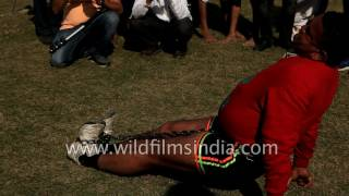 Download Indian snaps thick metal chain tied between hips and feet, by pulling! Video