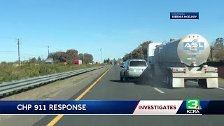 Download Witness captures erratic driver crash into tanker, says CHP didn't respond Video
