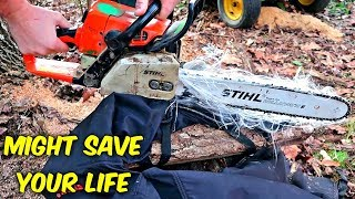 Download Do Chainsaw Safety Chaps Actually Work? (Slow Mo) Video