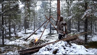 Download Viking bushcraft trip - snow, making tipi, reindeer sleeping bag, cooking meat on hot stone etc. Video