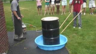 Download 55 gallon steel drum can crush using atmospheric pressure Video