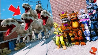 Download CAN THE ANIMATRONICS DEFEAT THE INDOMINUS REX DINO ARMY? (GTA 5 Mods FNAF Kids RedHatter) Video