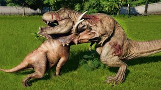 Download PENTACERATOPS MAX Vs T-REX,I-REX,ALLOSAURUS,SPINOSAURUS,CARNOTAURUS - Jurassic World Evolution Video
