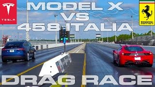 Download Tesla Model X P90D Ludicrous vs Ferrari 458 Italia 1/4 Mile Drag Race Video