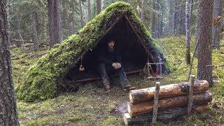 Download Winter Bushcraft Shelter Build - Overnight Camping, Raised Bed, Natural Shelter, Fire Reflector Video