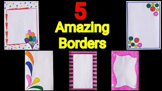Download 5 in 1 simple border design for project|assignment front page design handmade|simple border design Video