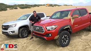 Download Toyota Tacoma TRD Off-Road vs Chevy Colorado Z71 - sand and rock crawl test Video