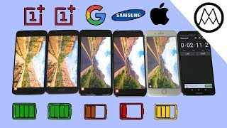 Download Oneplus 5T vs Pixel 2 XL vs S8 vs iPhone 8 Battery life Drain Test! Video
