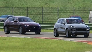 Download Battle Maserati Levant S vs Porsche Cayenne Turbo S Racing at Vallelunga Video