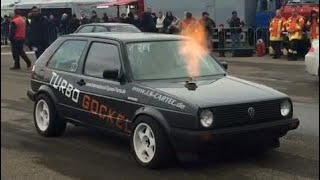 Download VW Golf Mk2 VR6 Turbo 4motion 1000+HP 1/4 Mile Drag Race Turbo Gockel Renner 3 Flugplatzblasen 2015 Video