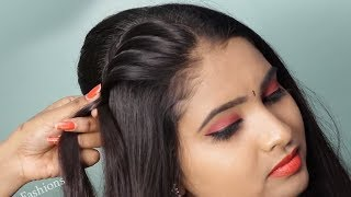 Download Beautiful hairstyle for wedding functions    Quick & Easy Hairstyle for ladies   hair style girl Video