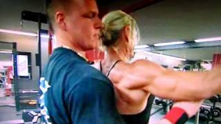 Download Swedish female bodybuilder working out in the gym Video