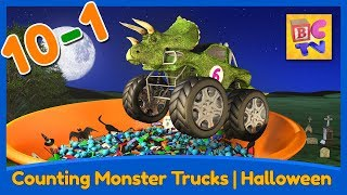 Download Counting Monster Trucks - Halloween Edition | Learn to Count Backwards from 10-1 for Kids Video