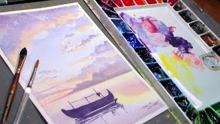 Download Fishing Boat Watercolor Sunset {REAL TIME painting tutorial} Video