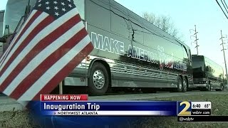 Download Group loads up buses to travel to inauguration Video