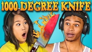 Download TEENS REACT TO 1000 DEGREE KNIFE COMPILATION Video