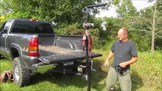 Download Pickup Truck Crane, receiver hitch hoist demonstration with Gorillabac log Splitter lift attachment. Video