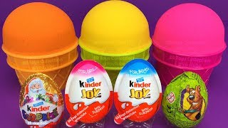 Download 3 Color Kinetic Sand in Ice Cream Cups | Surprise Toys PJ Masks Chupa Chups Kinder Surprise Eggs Video