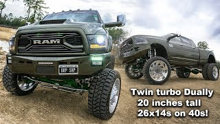 Download BEST DIESEL TRUCK!! TWIN TURBO DUALLY ON 20 INCH AIRBAG LIFT WITH 26X14 SUPER SINGLES ON 40S! Video