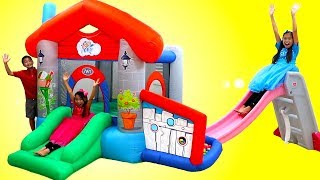 Download Wendy Pretend Play with an Inflatable Playground Bounce Playhouse Video