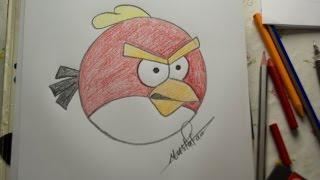 Download تعلم الرسم - الدرس الرابع كيفية رسم الطيور الغاظبة Angry Bird بالرصاص والالوان مع الخطوات للمبتدئين Video