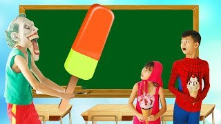 Download Spiderman Plant tree Superman Learn Color ICE CREAM w/ Joker paint Candy Bag Big School Color Video