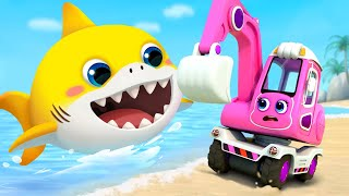Download Excavator and Baby Shark | Fire Truck, Tractor, Police Cars | Cars for Kids | Kids Songs | BabyBus Video