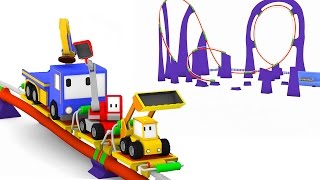 Download The Roller Coaster in the Amusement Park | Learn Colors with Tiny Trucks : bulldozer crane excavator Video