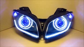 Download 2008-2013 Yamaha R15 HID Projector Headlights BiXenon Dual Angel Eyes Halo By BKmoto #1 Video