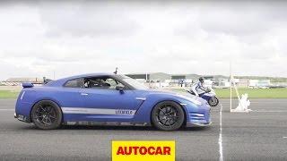 Download 1200bhp Litchfield Nissan GT-R vs 205bhp RC Express Racing Kawasaki ZX-10R - car vs bike drag race Video