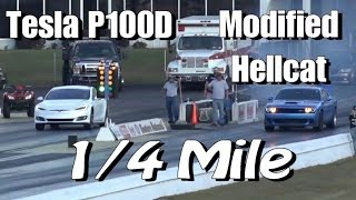 Download Tesla P100D Hunts Down Modified Hellcat Challenger 1/4 Mile Drag Race! Video
