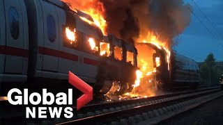 Download High speed ICE train catches fire in Germany Video