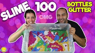 Download MIXING 100 BOTTLES OF GLITTER INTO A GIANT SLIME!! Mezclamos 100 botes de purpurina en nuestro slime Video
