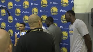 Download With Draymond Green listening in, reporter asks Steph Curry if Green is annoying Video