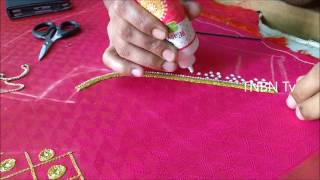 Download simple maggam work blouse designs | basic embroidery stitches tutorial | hand embroidery mirror work Video