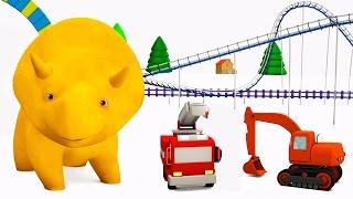 Download Aprende los colores con Dino el Dinosaurio y sus juguetes de camiones en el parque | Dibujo animado Video