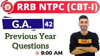 Download Class-42 ||#RRB NTPC || G.A. || By Vivek Sir || Previous Year Questions Video