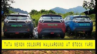 Download TATA NEXON COLOURS STOCKYARD WALKAROUND   GLASGOW GREY  NEXON VERMONT RED   NEXON MOROCCOAN BLUE Video