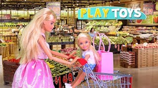 Download Barbie Doll Supermarket Shopping Chelsea Baby Dolls! Play Barbie Girl Grocery Shop toys! Play Dolls! Video