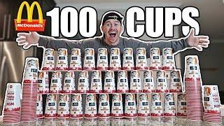 Download 100 MCDONALD'S CUPS EXPERIMENT!! *MONOPOLY JACKPOT CHALLENGE* Video
