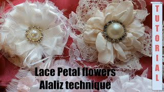 Download Lace Fabric Flowers Diy, Lace Petal flower, no sew flower, Shabby Chic tutorial, cotton flower Video