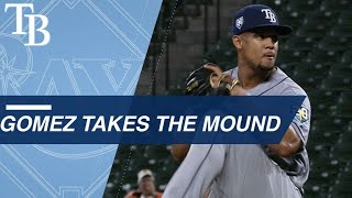 Download Carlos Gomez takes the mound for first time in career Video