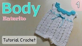 Download Patrón: body, enterito, pelele a crochet ganchillo para bebe (1/2) Video