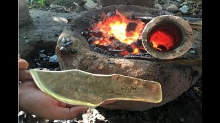 Download Primitive Technology: Building furnace and casting knife copper beautiful Video