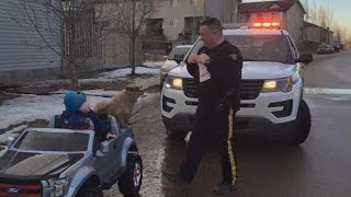Download Police Officer Pulls Over 3-Year-Old Speeding In Toy Convertible Video