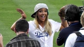 Download Jenna Marbles Throws PERFECT First Pitch at Dodger Stadium 7-26-2013 Video