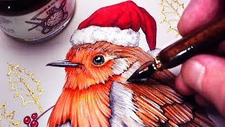 Download WATERCOLOUR and GOLD INK - CHRISTMAS PAINTING Video