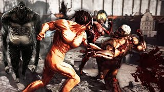 Download Attack on Titan Wings of Freedom Eren vs Annie,Reiner,Bertholdt and Beast Titan 99+Perfected Gear Video
