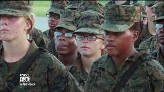 Download Female Marine recruits at boot camp strive to meet the same standards as men Video