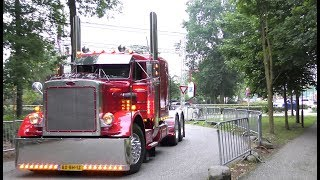 Download American Trucks in Europe with open pipes sound, by day & night Video